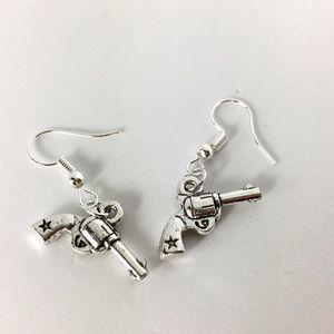 3/$15 Silver Tone Pistol Gun Dangle Earrings